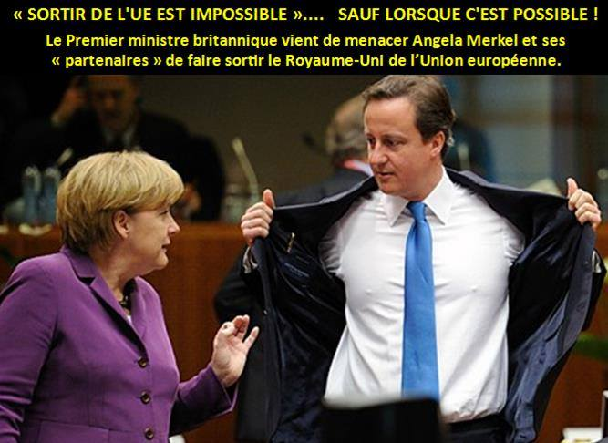 Le Premier ministre britannique vient de menacer ses « partenaires » de faire sortir le Royaume-Uni de l'Union européenne