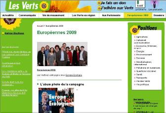 Site internet des Verts élections européennes