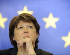 Martine Aubry, French Socialist Party first secretary and Lille's Mayor, attends a news conference after a meeting of the Eurometropole Lille-Kortrijk-Tournai in Lille