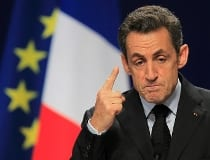 France's President Sarkozy gestures during a news conference on the second day of the G20 Summit in Cannes