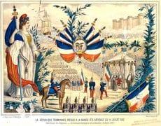 """La République triomphante préside à notre première """"Fête nationale"""" le 14 juillet 1880 - Gravure de l'époque, conservée aux Archives nationales"""