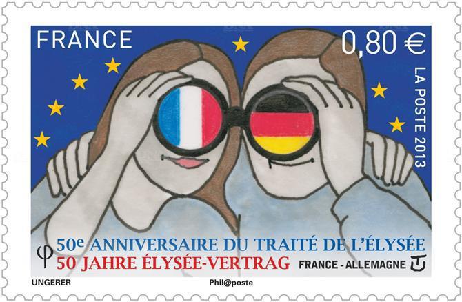 """Que signifie au juste ce timbre français qui célèbre, comme dans un monde de """"bisounours"""", le 50e anniversaire du traité de l'Élysée de 1963 ? En fait, il ne s'agit que d'une propagande morte, déconnectée de la réalité."""