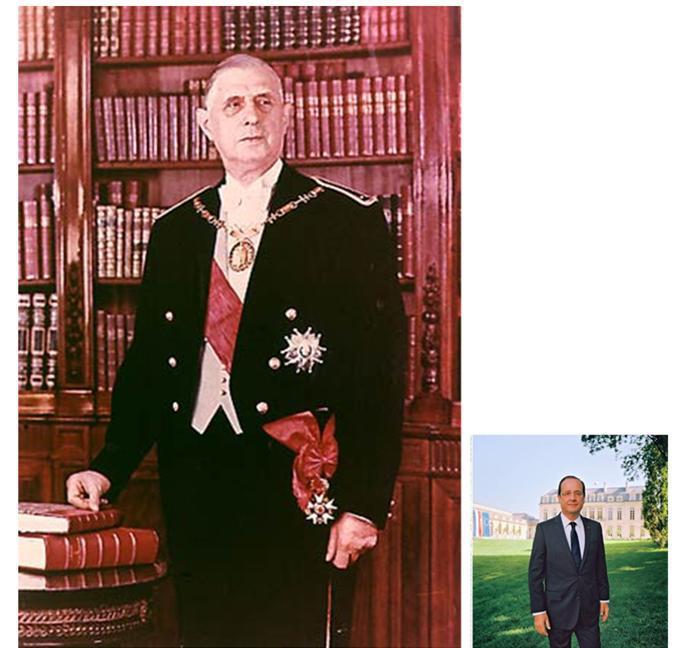 50 ans de distance, et une effrayante différence d'intelligence, de vision géopolitique, de lucidité, de courage et de droiture séparent Charles de Gaulle et François Hollande, dont on peine à réaliser qu'il est président de la République.  Un géant d'un côté, un nain de l'autre.