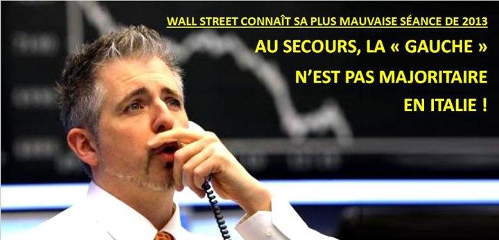 usa italie monti upr Wall Street dégringole de  1,55% en apprenant que la Gauche nest pas majoritaire au Sénat italien