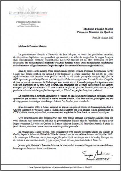 modele de lettre adressée à un ministre Lettre adressée à Mme Pauline Marois, Première Ministre du Québec  modele de lettre adressée à un ministre