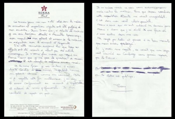 La lettre de Thierry Costa, médecin urgentiste de l'émission Koh Lanta, rendue publique après son suicide, le 1er avril 2013 au Cambodge.