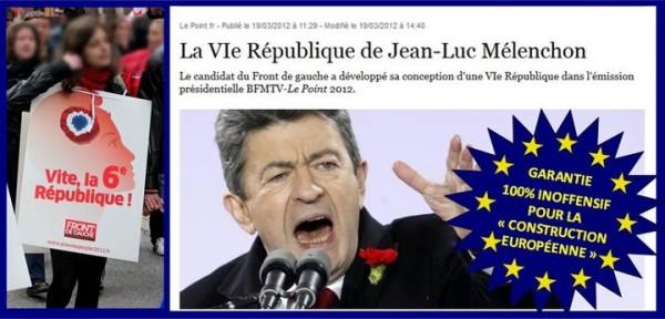 """Comme M. Montebourg avant d'entrer au gouvernement, M. Mélenchon appelle à une """"VIe République"""" où il est question de tout... sauf de l'essentiel : son projet ne dit pas un mot du fait que la Ve République est constamment bafouée par la construction européenne. Il ne dit pas un mot non plus du fait que sa VIe République serait tout autant impuissante que l'actuelle pour régler les problèmes de la France puisqu'il refuse de sortir de l'UE !"""
