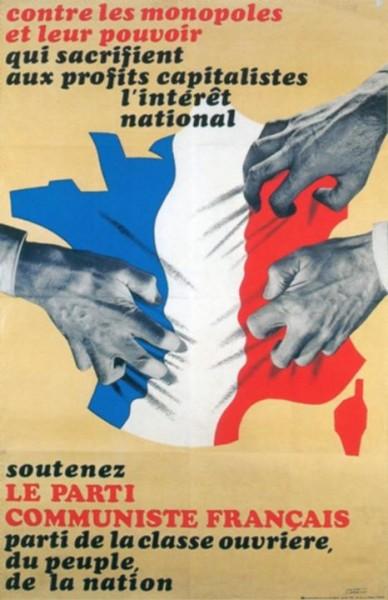 affiche Parti Communiste Français années 60. défense « peuple », « nation » « l'intérêt national » en toutes lettres affiches PCF. mouvement réellement patriote