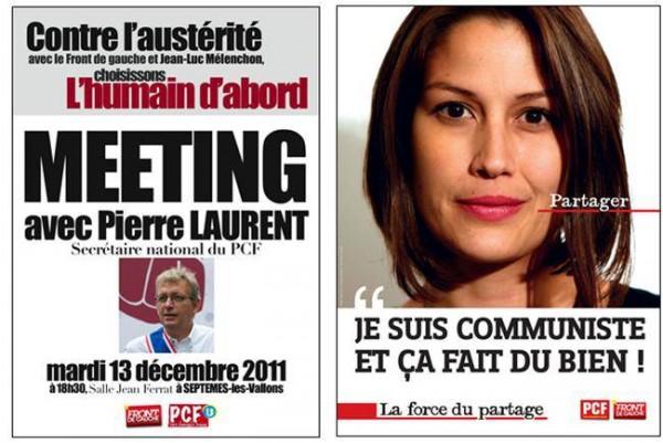 Affiches Parti Communiste Français 2013 : « L'humain d'abord  »,  « Je suis communiste et ça fait du bien !»,  « La force du partage »