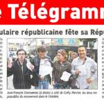 """À l'occasion de l'anniversaire de la République, l'UPR du Finistère fait parler d'elle dans le journal quotidien """"Le Télégramme"""""""