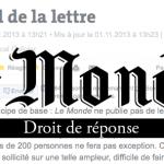 L'UPR demande un droit de réponse au journal Le Monde