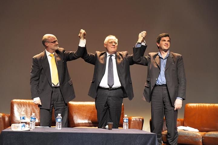 De gauche à droite : Alexander Holthoer IPU, François Asselineau UPR Thanasis Laskaratos,