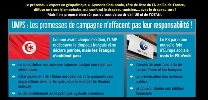 M. Chauprade dénonce l'entrée de la Turquie dans l'UE mais présente le drapeau de la Tunisie