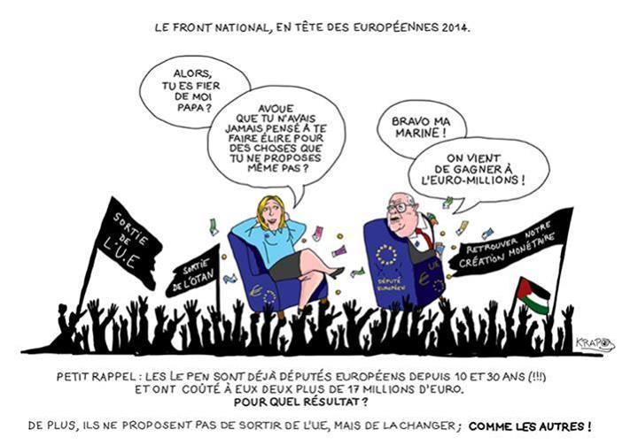 Côté français, M. Le Pen va gaillardement entamer sa 31ème année de député européen payés en gros 15 000 euros par mois net d'impôts, pour ne rien faire. Sa fille va commencer sa 11ème année et son gendre sa 1ère année. M. Gollnisch va entamer sa 26ème année à être ainsi payé très grassement à ne rien faire et il a eu le cynisme de reconnaître que c'était au fond la seule raison pour laquelle il restait au Front National