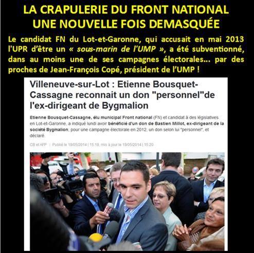 Le candidat FN du Lot-et-Garonne, qui qualifiait l'UPR de « sous-marin de l'UMP », était payé... par des proches de J-F. Copé