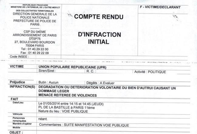 es lecteurs trouveront ci-dessous le scan exhaustif du dépôt de plainte que j'ai fait, le 1er mai 2014 entre 16h00 et 17h00, au Commissariat de police du Boulevard Bourdon (75004 PARIS).