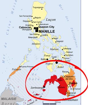 Carte du ministere francais des affaires etrangeres mettant en garde les touristes sur les zones des Philippines a eviter