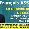 François ASSELINEAU présent à la Braderie de Lille le 1er septembre et en conférence à Maubeuge le 2 septembre 2018.