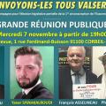 MOBILISATION GÉNÉRALE ! Grande réunion publique de campagne électorale mercredi 7 novembre à 19H00 à CORBEIL-ESSONNES (91).