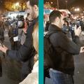 Campagne électorale pour la législative partielle de l'Essonne : Yavar Siyahkalroudi et François Asselineau interrogés par BFM-TV sur le marché de Courcouronnes.