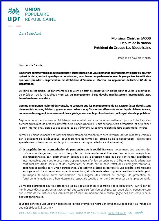 Decouvrez La Lettre Adressee Ce 27 Novembre Par Francois Asselineau