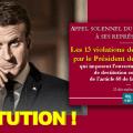 Mise à jour de notre dossier d'appel à lancer la procédure de destitution de Macron (incluant 3 nouvelles violations de la Constitution par le président de la République).