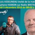 François ASSELINEAU a été l'invité de la matinale de Stéphane HAMON sur Radio BRETAGNE 5 LE mercredi 5 décembre 2018 de 8h30 à 8h50.