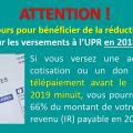 === ATTENTION ! === Derniers jours pour bénéficier de la réduction fiscale sur les dons et cotisations versés à l'UPR en 2018