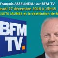 FRANÇOIS ASSELINEAU sur BFM-TV ce jeudi 27 décembre à 15H45.