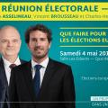 Grande réunion électorale à Nevers ce samedi 4 mai 2019 à 15h30, avec Jean de Rohan-Chabot, François Asselineau, Vincent Brousseau et Charles-Henri Gallois.