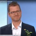 Olivier Loisel, délégué régional d'Aquitaine (UPR) en interview dans le journal télévisé de France 3 Aquitaine le 14 mai 2019 face à une candidate écologiste pour les élections européennes du 26 mai 2019.