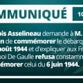 François Asselineau demande à M. Macron de commémorer le débarquement de Provence du 15 août 1944 et d'expliquer aux Français pourquoi De Gaulle refusa constamment de commémorer celui du 6 juin 1944.