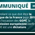 En dévoilant ce que doit être la politique de la France pour 2019 et 2020 à l'occasion des GOPÉ, la Commission européenne confirme que l'UE est une dictature