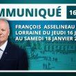 François  Asselineau, président de l'Union populaire républicaine (UPR), sera en  Lorraine du jeudi 16 janvier en fin de journée au samedi 18 janvier.