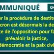 Communiqué de presse : lancer la procédure de destitution de Macron est désormais la dernière carte.