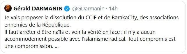 Tweet de Gérald Darmanin