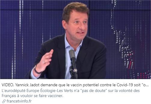 Yannick Jadot demande sur Francetvinfo que le vaccin contre la Covid-19 soit obligatoire.