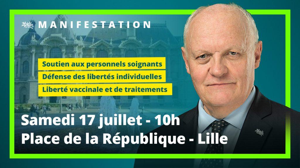 François Asselineau sera présent à Lille samedi 17 juillet 2021 à 10h à la manifestation contre le Passe sanitaire.