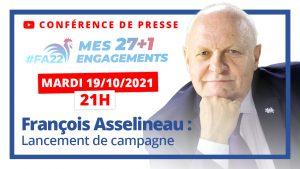 Présidentielle 2022 : Lancement de la campagne de François Asselineau