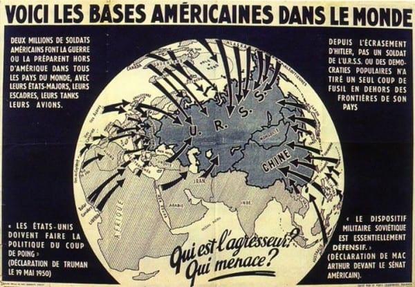 Affiche Parti Communiste Français 1950 VOICI BASES AMÉRICAINES DANS LE MONDE Parti communiste français années 50 enjeux géopolitiques électeurs, intelligents adultes comprendre.