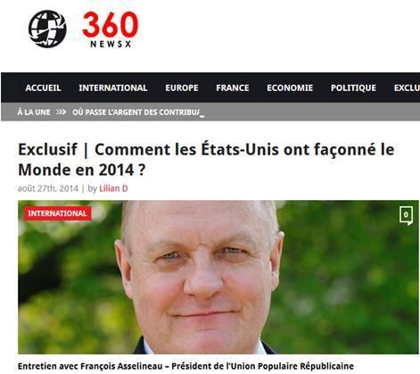 Article François Asselineau sur News360X - Comment les États-Unis ont façonné le Monde en 2014 ?