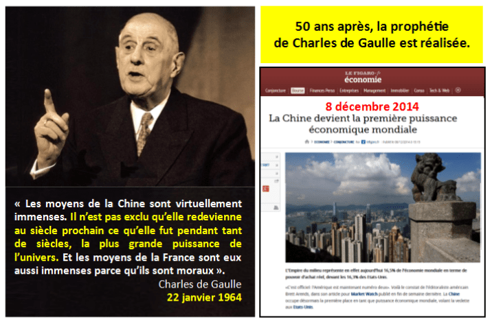 CHINE N°1 ETATS-UNIS SUR LE DECLIN - prophétie de Charles de Gaulle