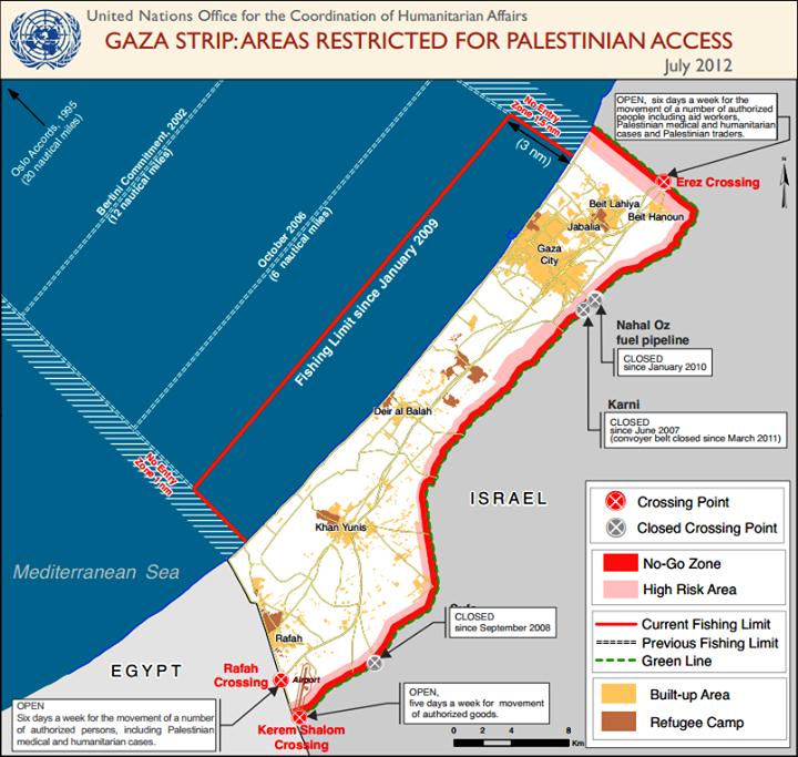 La Bande de Gaza est enserrée d'une muraille sur toutes ses frontières terrestres