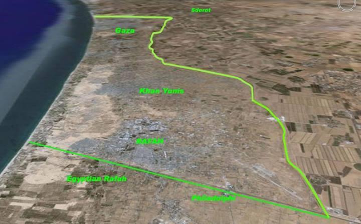 La bande de Gaza vue par satellite en direction du nord