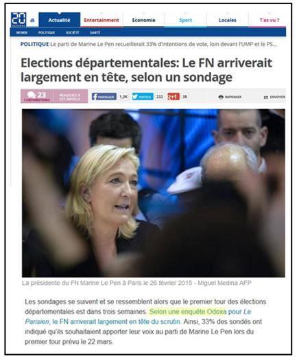 """La promotion éhontée du FN par le prétendu """"institut de sondage"""" Odoxa, relayé bien entendu par toute la presse (ici le quotidien gratuit """"20 minutes"""" du 5 mars 2015) : le FN devait, paraît-il,  arriver """"de loin"""" en tête devant l'UMP et le PS avec pas moins de 33% des suffrages...."""