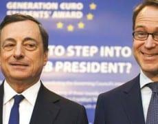 Mario Draghi président de la BCE et Jens Weidmann