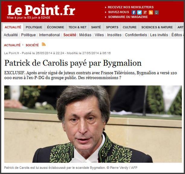 France, Patrick de Carolis payé par Bygmalion