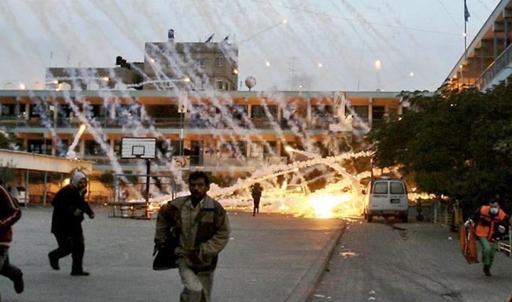 Pluie de projectiles incendiaires sur Rafah pendant l'Opération Colonne de Nuée  en 2012