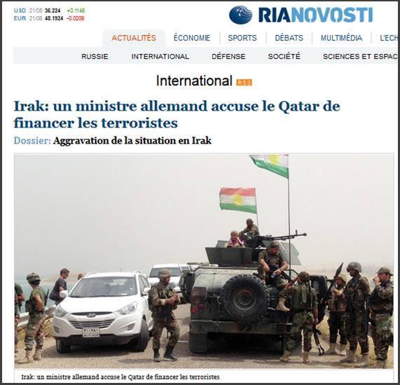Ria novosti un ministre allemand accuse le Qatar de financer les djihadistes en irak