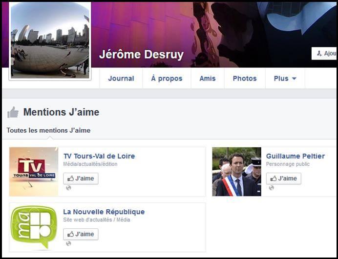 Scan de la page Facebook de Jérôme Desruy Rédacteur en chef de TV-TOURS